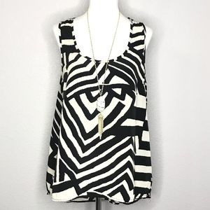 Forever 21 Mod Print Sleeveless Tunic Top A080204